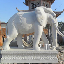 Life Size Garden Outdoor Marble Elephant Statue
