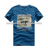 hotsale vintage blue printed plain cotton round neck tee shirt