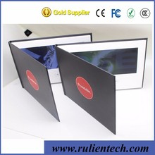 2017 High quality Promotion 7 inch digital lcd video screen greeting cards video brochure Book with pocket for extra flyer