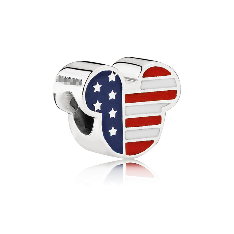 United States flag and Mickey Mouse Customized bead Charm for Bracelet