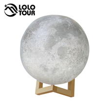 Creative Gift Rechargeable 2 Color Change Touch Switch Bedroom Bookcase Usb Led Solar Balloon Night Light 3D Print Moon Light