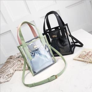 hot sale stylish school two size tote bag clear transparent shoulder crossbody pvc bags for students