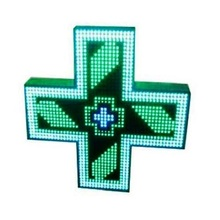USB serial Outdoor LED Single side green color cross pharmacy sign screen with RF communication