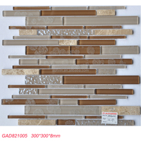 Strip shape glass stone mix mosaic tile for TV background decoration