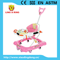 2016 new baby walker with push rod and music and light for baby