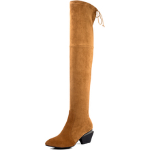 Squared-off Heel Boots Fashion Genuine Leather Over The Knee Boots 2017 Women Shoes