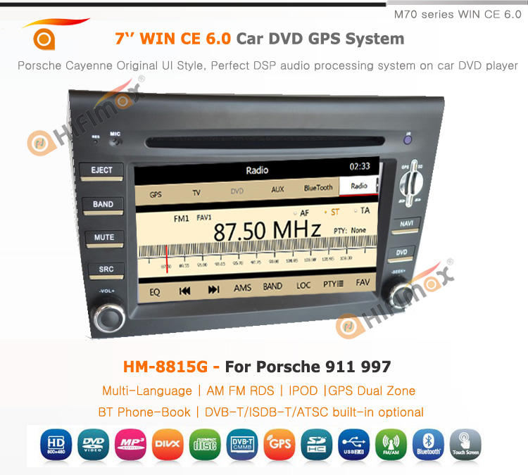 HIFIMAX WIN CE 6.0 7'' Car DVD GPS For Porsche BOXTER(2005-2008) Bluetooth DVD AM/FM