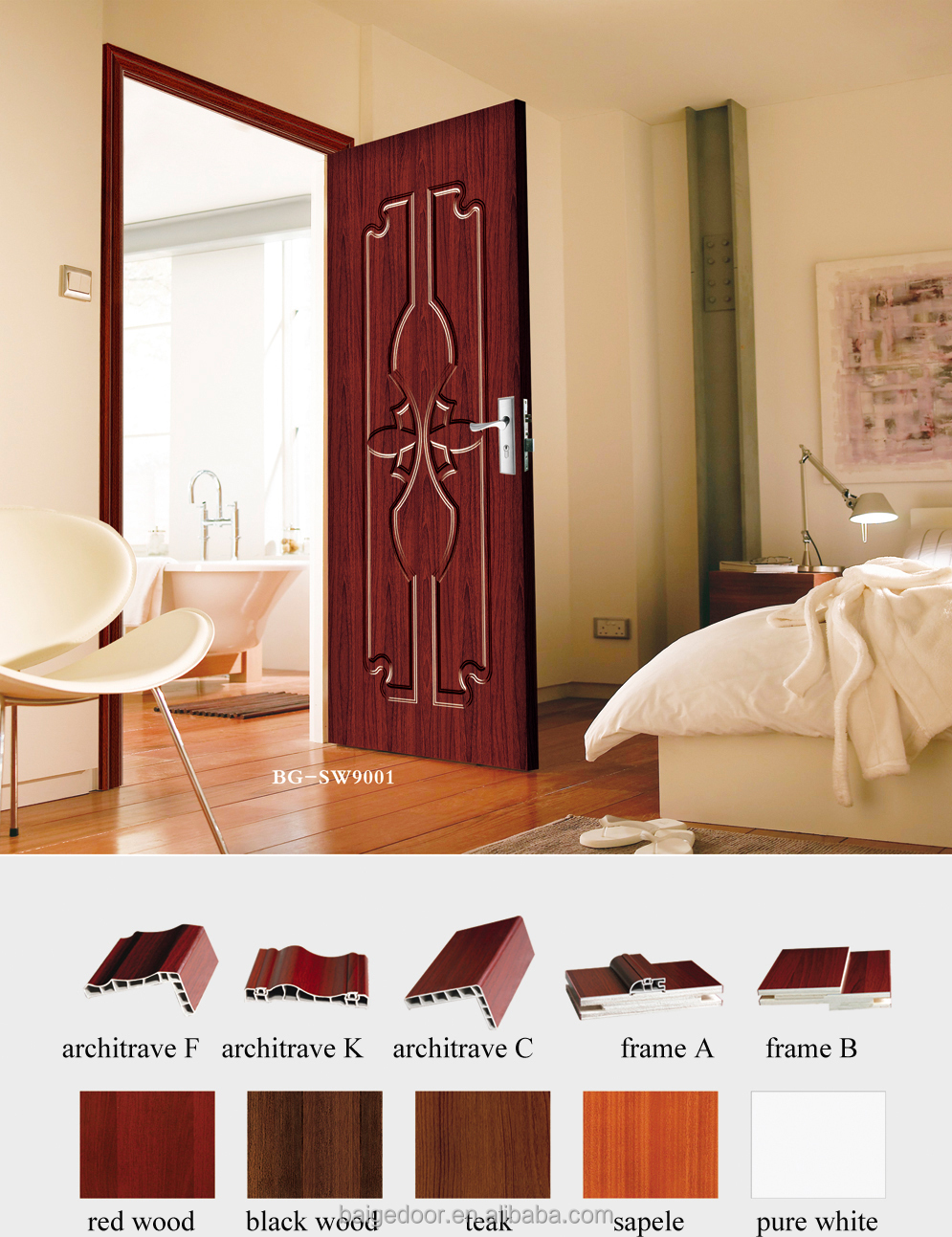 Alibaba manufacturer directory suppliers manufacturers bg sw608g decorative steel doorscherry wood interior doorssteel wooden interior door eventelaan Gallery