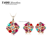 Romantic design jewelry! T400 made with swarovski elements crystal Neckalce & Earrings set multicolor flower #S006