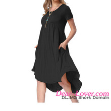 Wholesale Women Jersey Dress Short Sleeve High Low Pleated Casual Swing Dresses