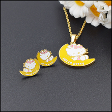 Latest design beautiful yellow moon Katie cat earrings necklace pendant jewelry set, noble European pop girl children jewelry se