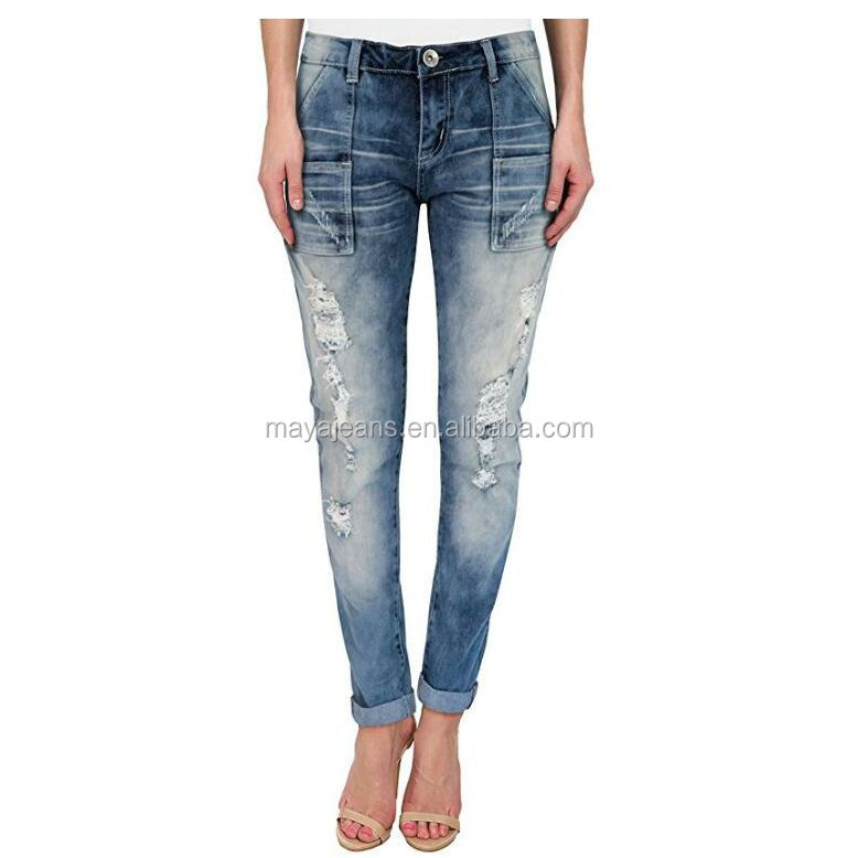 MY-040 Womens Super comfy stretch denim pants 5 Pocket Jeans factory wholesale