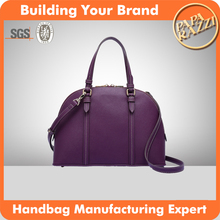 CC2023 Purple Saffiano Real Leather Office Lady Zip Top Shell Shape Shoulder Bag Ladies Handbag