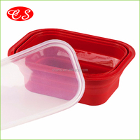 BPA Free Food Grade Microwave Safe Collapsible Silicone bento lunch box