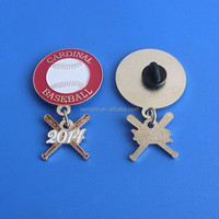 Cardinal Baseball trading pin with a cross bats dangler