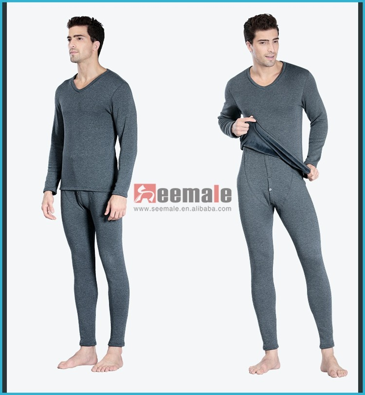 Merino Wool Heated Thermal Underwear V-Neck Polartec Leg Warmers Underwear Sets Long Sleeve Long John Underwear Mens Pyjamas