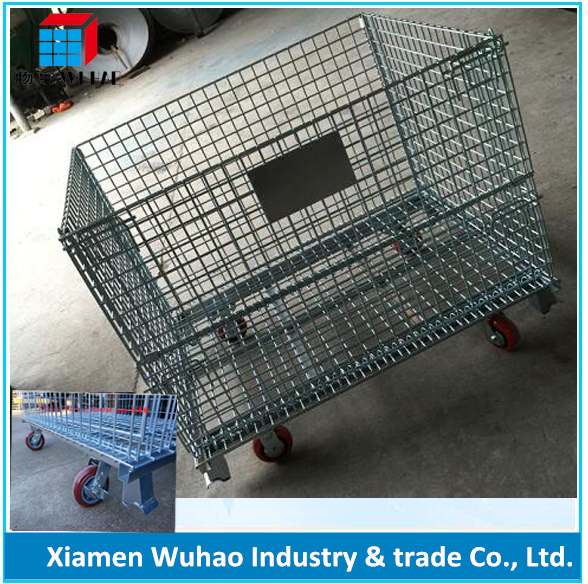 Industrial Mesh Pallet Cages galvanized mesh pallet box metal storage cages with 4 wheels