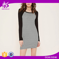 2016 Shandao Manufactures In Guangzhou Spring Men O-Neck Long Sleeve 160g 98% Cotton 2% Polyester Ladies Plain T-shirt Dresses