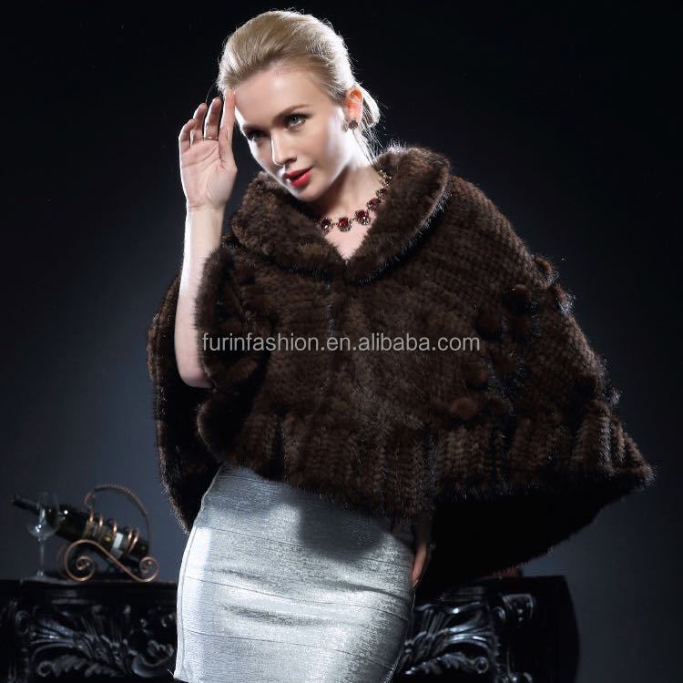 2017/2018 New Product Wholesale Knitted Mink Fur Poncho for Fashion Ladies with Factory Price