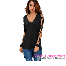Fashionable V Neck Crisscross Hollow-out model blouse neck designs