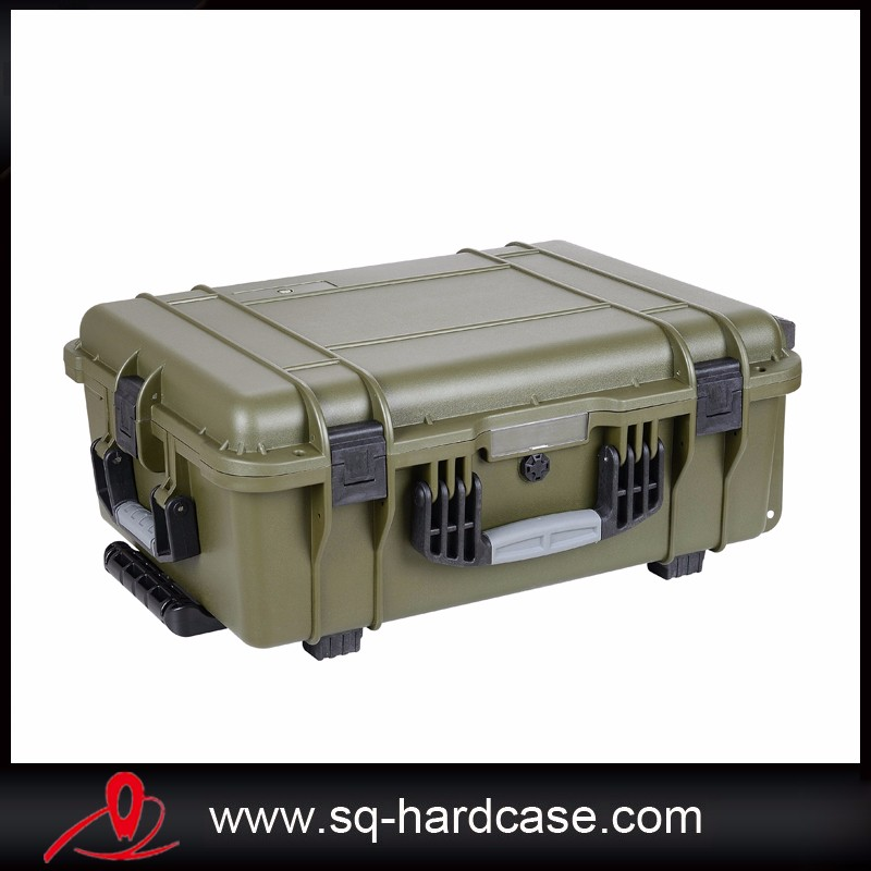 plastic shockproof display case with wheels