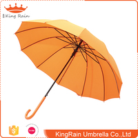 Promotional bright color auto open bamboo handle walking stick umbrella