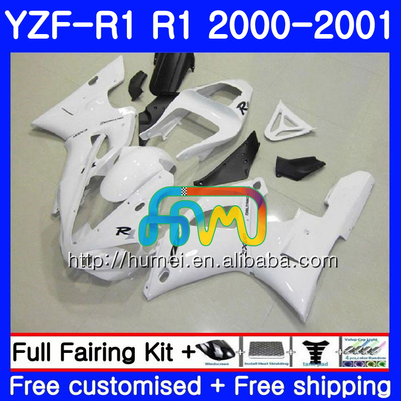 glossy white Bodywork For YAMAHA YZF 1000 YZF-<strong>R1</strong> 2000 <strong>2001</strong> Body 98HM41 YZF1000 YZF R 1 YZFR1 00 01 YZF-1000 YZF <strong>R1</strong> 00 01 Fairing