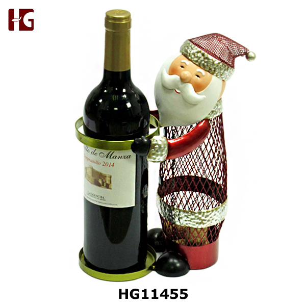 Metal Santa Clause Wine Bottle And Cork Holder