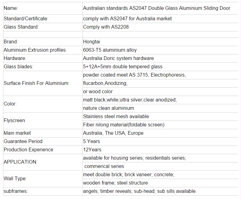 Australia standard aluminium sliding door/double glazed aluminium windows and doors with AS/NZ2047,2208 certificates