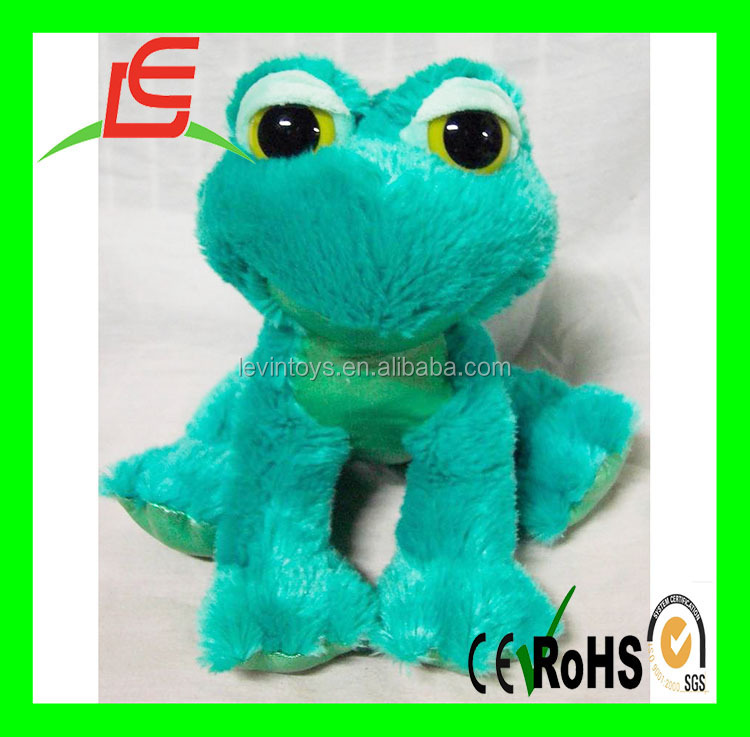 wholesale sitting Plush sturffed green frog with big eyes