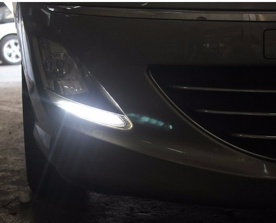 DRL High light auto front bumper led fog lamps, car LED day running lights for 2014 Peugeot 408