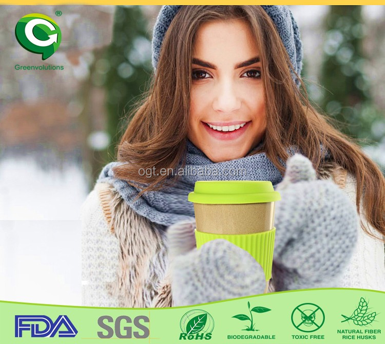 Biodegradable rice husk fiber coffee cup,camera lens cup