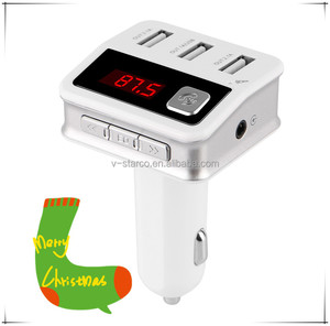 AUX car audio fm transmitter 3.5mm cable with sd memory card