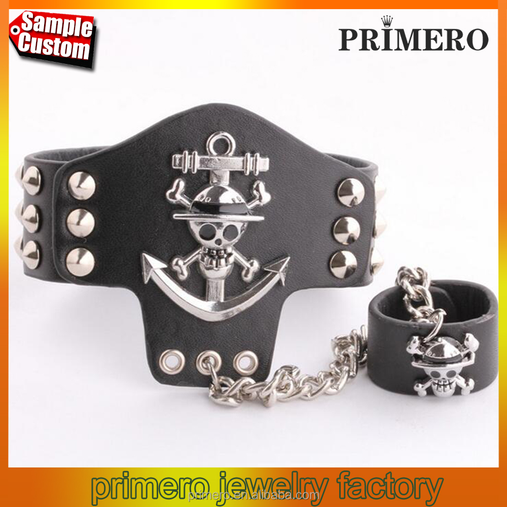 Hot Cosplay One Piece Anchor Black Leather Bracelets With Anime Jewelry