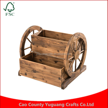 Rustic Style Brown Wood Freestanding Plant Planter Box Tier Large Arthur Solid Wood Flower Pot