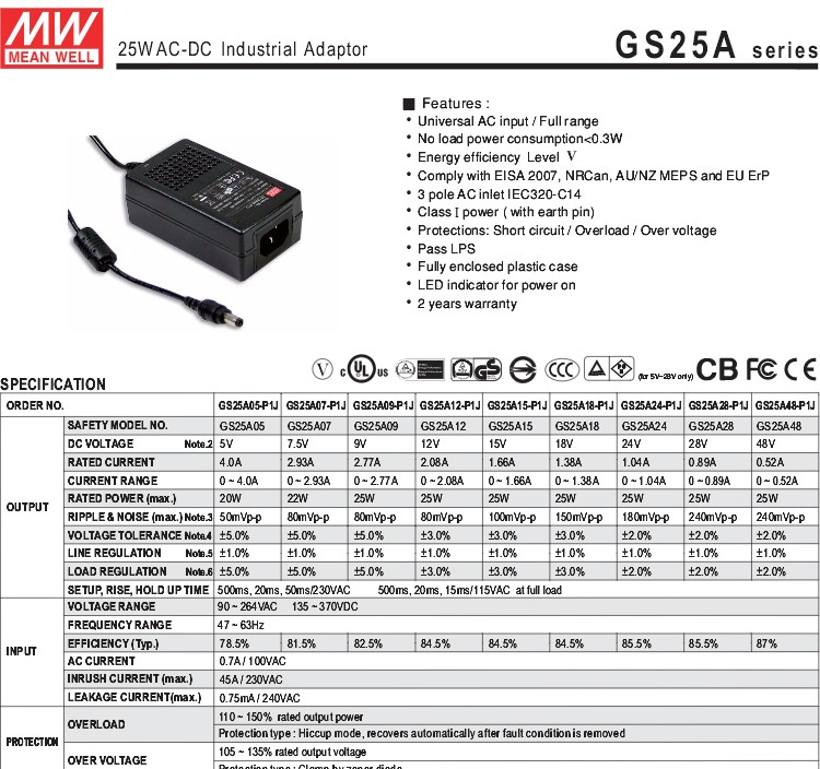 Meanwell GS25A24-P1J 1.04a 25w 24v ac dc adaptor