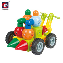 Magnetic tube preschool toy building block car toy
