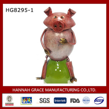 Metal Piggy Sculpture Bottle Cover