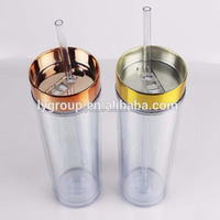 NEW Double Wall plasitc Acrylic Tumbler with strip straw,plastic tumbler 16oz INSULATED DOUBLE WALL Acrylic water bottle