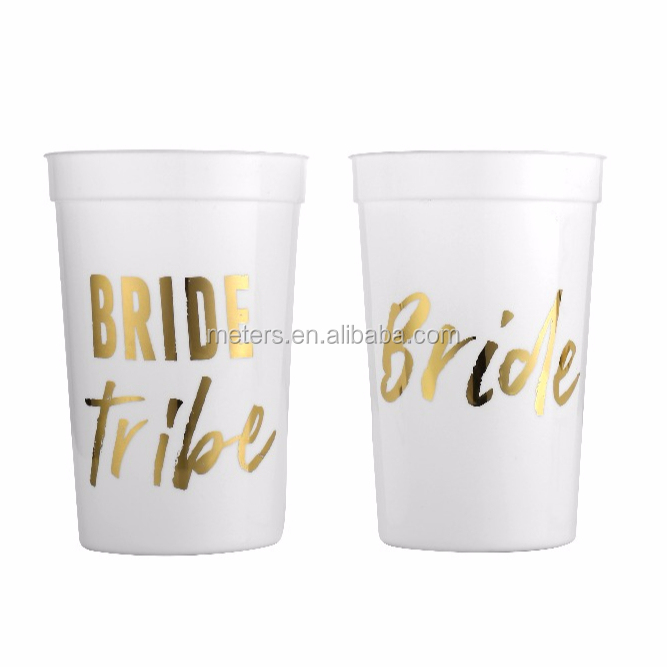Golden Printing Bride and Bride Tribe Bachelorette Party Cups
