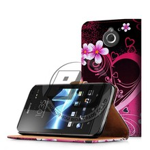 Mobile phone accessories wallet printed pu leather flip case for sony xperia sola mt27i