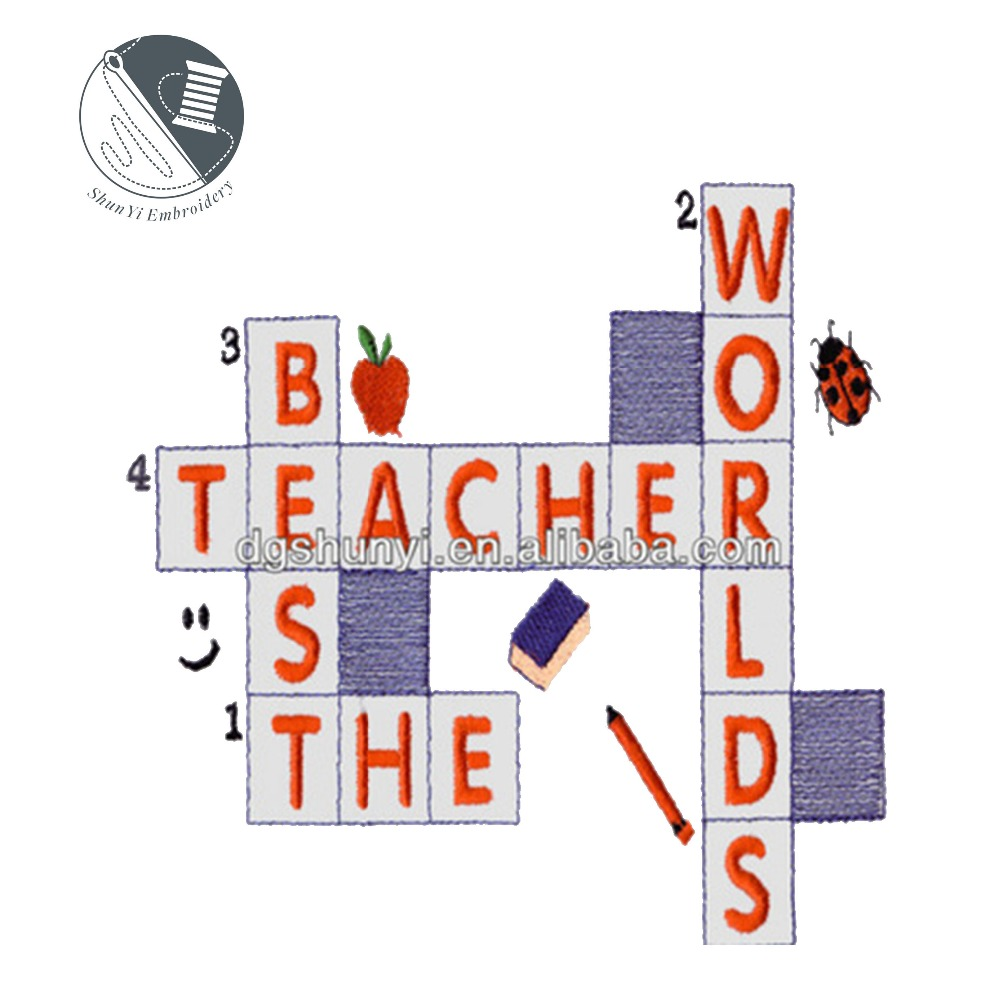 teacher embroidery design word puzzle pattern