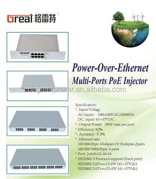 16 port poe 10/100/1000 mbps POE adapter for cable modem wireless router