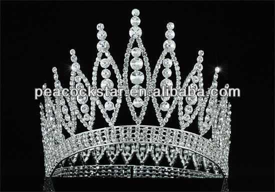 "Wholesale Sparkling High Quality Pageant Tall 4.6"" Tiara Full Circle Round Crystal Rhinestone Crown CT1723"