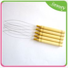 high quality pulling needle ,H0T028 copper micro euro locks for i-tip hair , hair elastic band with hook