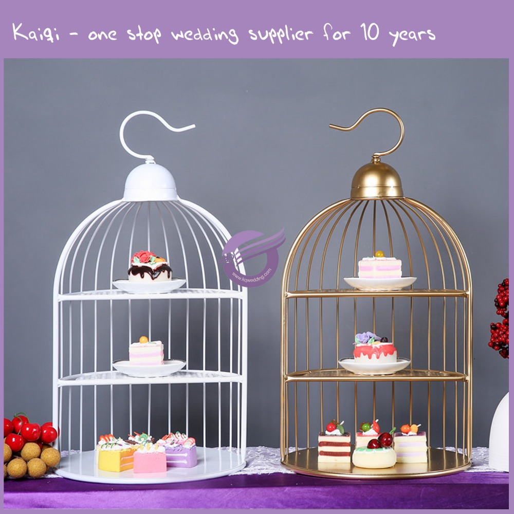 KB090 Unique Metal Bird Cage Cake Stand Cupcake Stand for Wedding