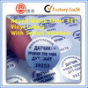 Round matte silver PET vinyl label with serials Numbers