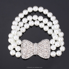 Bracelet Pearl Jewelry Bow knot Elegant Woman Pearl Beads Clear Rhinestone High Quality Bracelet As Wedding Accessories