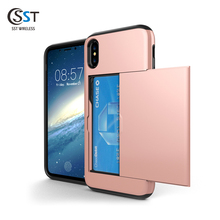 New style design tpu pc card slot case phone cover for iphone x ,for iphone 10 case card holder ,for iphone cover x