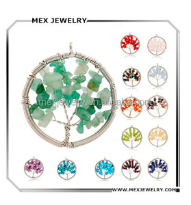 silver tree of life quartz gemstone material turquoise opal ruby mix stone pendant design for necklace